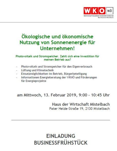 Bild Einladung Businessfruehstück Mistelbach